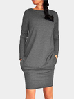 Dark Grey Casual Round Neck Bodycon Hem Mini Dress