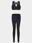 Active Criss-Cross Design High Waisted Tracksuit in Black