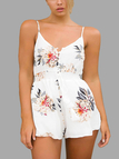 Random Floral Print V-neck & Button-front Playsuits in White