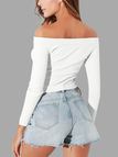 White Plain Off The Shoulder Long Sleeves Crop Top