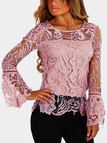 Pinkish-purple See-through Lace Details Round Neck Long Sleeves Sexy Top