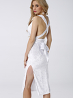 White Velvet Deep V Front Backless Splited Hem Party Dress