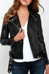 Leather-look Biker Jacket with Zipper Front