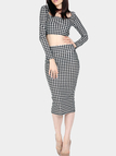 Houndstooth Crop Top & Pencil Skirt Two-Piece Set