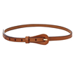 Textured Leather-look Skinny Waist Belt in Brown