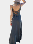 Grey Vacation Cross Back Maxi Dress