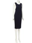 Dark Blue Round Neck Sleeveless Casual Dress