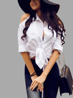White Cold Shoulder Self-tie Knot Front Shirt