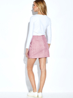 Pink Front Lace-up A-line Mini Skirt With Back Zip