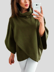 Green Chimney Collar Flared Sleeves Irregular Hem Sweater