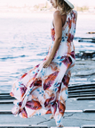 White and Red Tropical Leaves Printed Maxi Dress