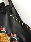 Black Rose Embroidery Rivet Artificial Leather Hotpants