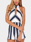 Random Stripe Pattern Sleeveless Playsuit with Zip Back Fastening