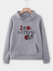Grey Rose Print Long Sleeves Hooded Sweatshirts