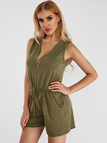 Green Side Pockets V-neck Sleeveless Drawstring Waist Playsuit
