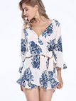 Bohemian Floral Print Wrap Over V Neck Long Sleeve Playsuit