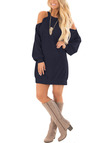 Navy Cold Shoulder Long Sleeves Sweatshirt Dress