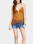 Brown Sexy V Neck Tassel Bralette Top