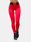 Active Stitching Design High Waisted Leggings in Red