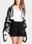 Black Oversized Lapel Cardigan with Double Jacquard