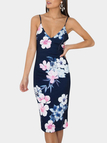Navy Floral Pattern Deep V-neck Sleeveless Open Back Midi Dress
