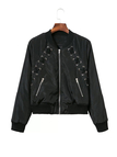 Black Fashion Zipper Lace-up Jacket with Zip Pockets