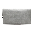 Grey Leather-look Fold Over Clutch Bag with Allover Seam Detail