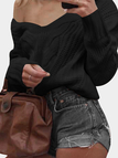 Black V-neck Long Sleeves Causal Loose Jumper