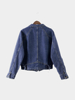 Deep Blue Fashion Button Closure Pockets Denim Jacket