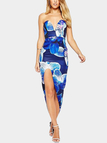 Random Floral Print Tube Dress With Irregular Hem