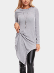 Grey Pleated Design Round Neck Long Sleeves Jumper