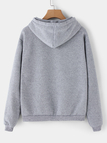Active Letter Pattern Long Sleeves Sports Hoodies in Grey