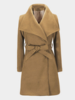 Khaki Fashion Seamed Pockets Outerwear with Belt