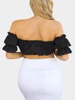 Black Off Shoulder Lace-up Front Pleated Crop Top