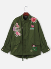 Army Green Rose Embroidery Pattern Long Sleeves Winter Outerwear