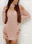 Pink Ripped Detail Button Keyhole Design Cold Shoulder Knitting Dresses