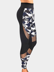 Active Camo & Mesh Stitching Gym Leggings in Black