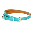 Turquoise Smooth Leather-look Skinny Buckle Waist Belt with Metal Tip