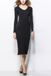 Black Long Sleeve Scoop Neck Body-Conscious Midi Dress