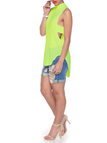 Green Halter Neck Cut Out Back Vest with Curved Hem