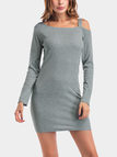 Grey Cold Shoulder Round Neck Long Sleeves Mini Dress