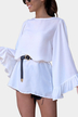 White Bell Sleeves Round Neck Mini Dress with Belt