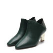 Green Leather-look Ankle Boots with Golden heel