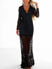 Black Sexy Lowcut V-neck Sheer Lace Long Sleeve Maxi Dress
