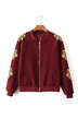 Burgundy Embroidery Jacket with Stand Collar