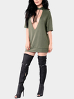 Army Green Deep V-neck Backless T-shirt Dress