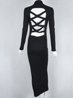 Black High Neck Crossed Hollow Out Back Maxi Dress