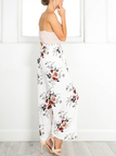 White Floral Print Slit Design Side Zipper Wide Leg Pants