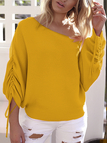 Yellow Lace-up Design One Shoulder Long Sleeves Sweaters