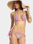 Purple Crochet Halter Triangle Bikini Set